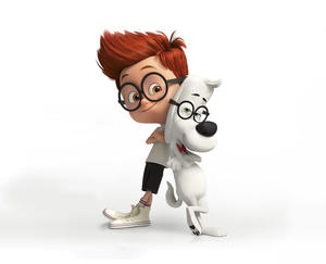"""Sherman voiced by Max Charles and Mr. Peabody voiced by Ty Burell in """"Mr. Peabody & Sherman."""""""