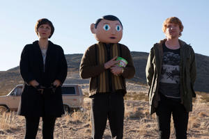 "Maggie Gyllenhaal, Michael Fassbender and Domhnall Gleeson in ""Frank."""
