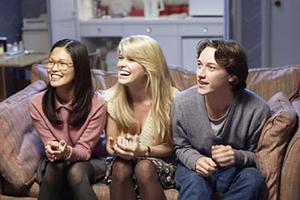"Elaine Tan, Alice Eve and James McAvoy in ""Starter for 10."""