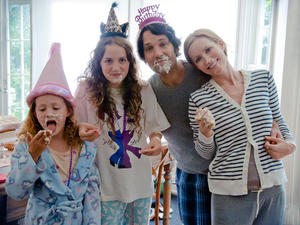 "Iris Apatow, Maude Apatow, Paul Rudd and Leslie Mann in ""This Is 40."""