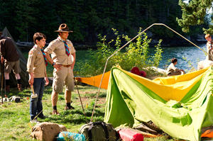 "Zachary Gordon as Greg and Steve Zahn as Frank in ""Diary of a Wimpy Kid: Dog Days."""