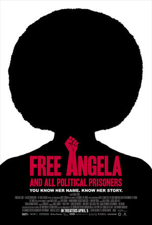 "Poster art for ""Free Angela and All Political Prisoners."""
