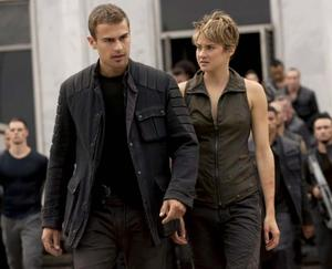 "Theo James and Shailene Woodley in ""The Divergent Series: Insurgent."""