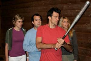 "Greta Gerwig as Michelle, Steve Zissis as Chad, Ross Partridge as Matt and Greta Gerwig as Michelle in ""Baghead."""