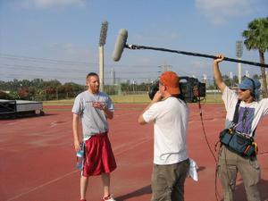 "Tamir Goodman, once heralded as ""the Jewish Jordan"" training in Israel, 2005 on the set of ""The First Basket."""
