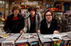 "Aaron Johnson as Dave Lizewski and Clark Duke as Marty in ""Kick-Ass."""