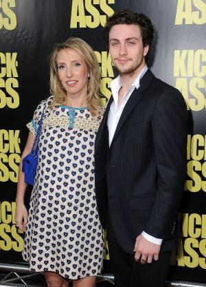 "Sam Taylor Wood and Aaron Johnson at the California premiere of ""Kick-Ass."""
