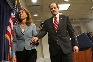 "Silda Wall Spitzer and Eliot Spitzer in ""Client 9: The Rise and Fall of Eliot Spitzer."""
