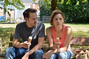 "Fabrizio Rongione and Marion Cotillard in ""Two Days, One Night."""