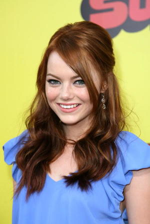 "Actress Emma Stone at the Hollywood premiere of ""Superbad."""