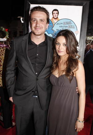 "Actors Jason Segel and Mila Kunis at the Hollywood premiere of ""Forgetting Sarah Marshall."""