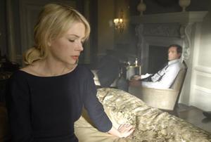 "Michelle Williams and Hugh Jackman in ""Deception."""