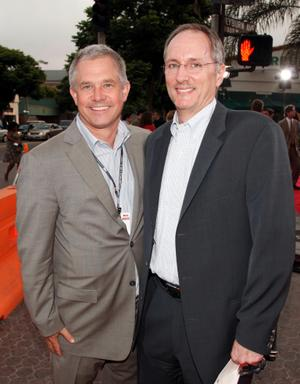 """Hutch Parker and Robert Harper at the California premiere of """"Meet Dave."""""""