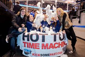 "Clark Duke and Collette Wolfe of ""Hot Tub Time Machine"" at Tub Crawl promotion tour in Toronto."