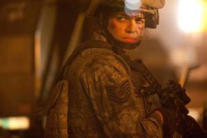 "Michelle Rodriguez as Corporal Adriana Santos in ""Battle: Los Angeles."""