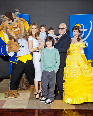 """Celine Dion, Nelson, Rene-Charles, Eddy and Rene Angelil at the honor event of """"Beauty and the Beast 3D."""""""