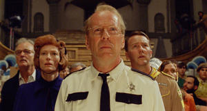 "Bill Murray as Mr. Bishop, Tilda Swinton as Social Services, Bruce Willis as Captain Sharp, Edward Norton as Scout Master Ward and Frances McDormand as Mrs. Bishop in ""Moonrise Kingdom."""