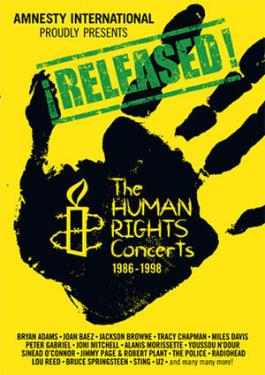 """Poster art for """" ¡RELEASED! The Human Rights Concerts / Light A Candle."""""""