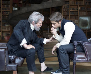 "Jeff Bridges and Brenton Thwaites in ""The Giver."""