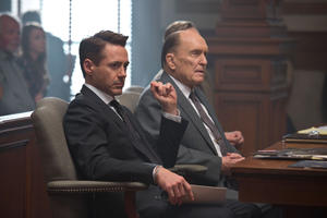 "Robert Downey Jr. as Hank Palmer and Robert Duvall as Joseph Palmer in ""The Judge."""