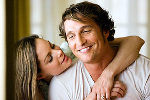 """Kimberly Williams-Paisley and Matthew McConaughey as Sandy and Jack Lengeyl in """"We Are Marshall."""""""