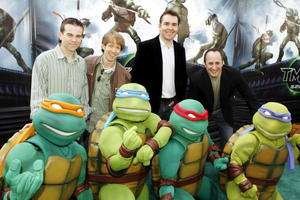 """Voice actors Mikey Kelley, James Arnold Taylor, Nolan North and Mitchell Whitfield at the Hollywood premiere of """"Teenage Mutant Ninja Turtles."""""""