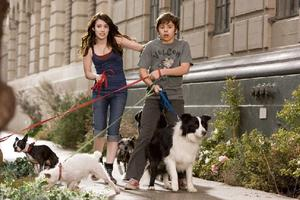 "Emma Roberts as Andi and Jake T. Austin as Bruce in ""Hotel for Dogs."""