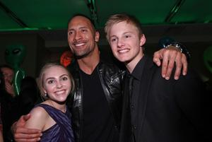 """AnnaSophia Robb, Dwayne Johnson and Alexander Ludwig at the after party of the California premiere of """"Race to Witch Mountain."""""""