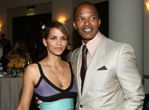 "Halle Berry and Jamie Foxx at the California premiere of ""The Soloist."""