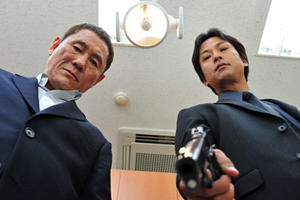 "Takeshi Kitano and Kippei Shiina in ""Outrage."""