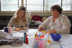 "Olivia Crocicchia as Heather and Jacob Wysocki as Terri in ""Terri."""