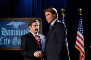 "Zach Galifianakis as Marty Huggins and Will Ferrell as Cam Brady in ""The Campaign."""