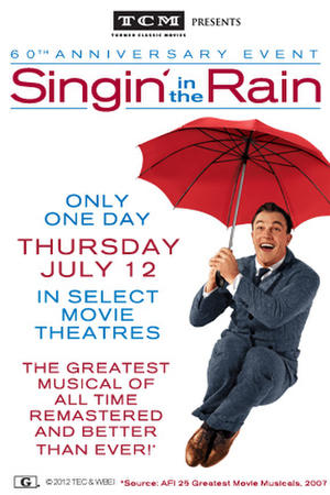"""Poster art for """"TCM Presents Singin' in the Rain 60th Anniversary Event."""""""