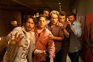 "James Franco, Jonah Hill, Craig Robinson, Seth Rogen, Jay Baruchel and Danny McBride in ""This is The End."""