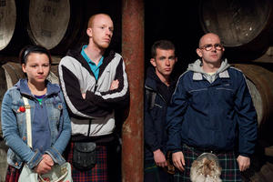 "Jasmin Riggins as Mo, William Ruane as Rhino, Paul Brannigan as Robbie and Gary Maitland as Albert in ""The Angels' Share."""