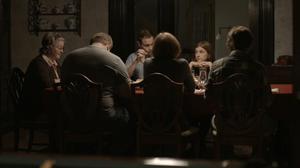 "Marceline Hugot, Mike Houston, Khan Baykal, Kathleen McNenny, Aya Cash and Oliver Henzler in ""The Happy House."""