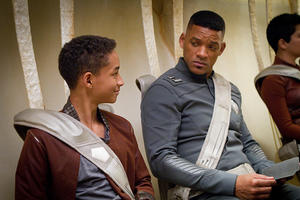 "Jaden Smith and Will Smith in ""After Earth."""