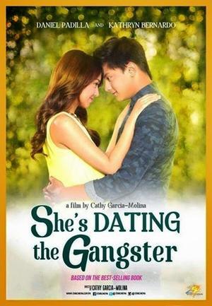 "Poster art for ""She's Dating the Gangster."""
