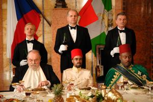 "Ivan Barnev as Jan Díte, Martin Huba as front waiter Skrivánek, and Tonya Graves as the Emporer of Ethiopia in ""I Served the King of England."""