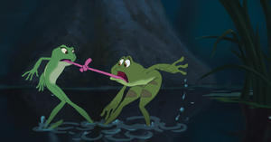 "Exclusive: Frog Tiana and Frog Naveen in ""The Princess and the Frog."""