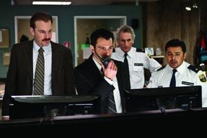 "Josh Peace, Chris Messina, Matt Craven and Jacob Vargas in ""Devil."""