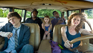 "Jesse Eisenberg as Eli, Melissa Leo as Penny, Tracy Morgan as Sprinkles, Isiah Whitlock Jr. as Black and Emma Rayne Lyle as Nicole in ""Why Stop Now."""