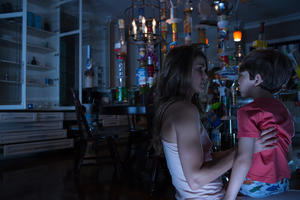 "Keri Russell and Dakota Goyo in ""Dark Skies."""