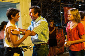 "Zac Efron as Dean, Dennis Quaid as Henry and Kim Dickens as Irene in ""At Any Price."""