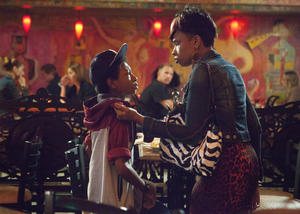 "Skylan Brooks and Jennifer Hudson in ""The Inevitable Defeat of Mister and Pete."""