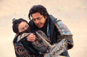 "Jackie Chan as Huo An and Peng Lin as Cold Moon in ""Dragon Blade."""