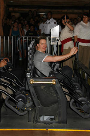 """Brendan Fraser at Universal Studios Hollywood's """"Revenge of the Mummy - The Ride"""" rollercoaster."""