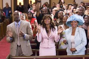 "Morris Chestnut as Dave Johnson, Taraji P. Henson as Clarice Clark and Jenifer Lewis as Mary ""Mama"" Clark in ""Not Easily Broken."""