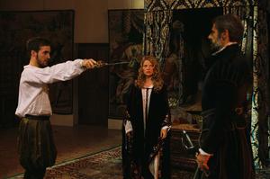"""Gregoire Leprince Ringuet as Prince De Montpensier, Melanie Thierry as Marie De Montpensier and Lambert Wilson as Comte De Chabannes in """"The Princess of Montpensier."""""""