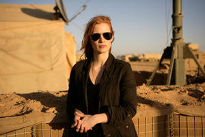 "Jessica Chastain on the set of ""Zero Dark Thirty."""